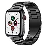 PUGO TOP Bands Compatible with apple watch 38mm 40mm Series 6/5/4/3/2/1/SE iWatch iPhone Watch Link Band Stainless Steel Metal Men Women.(38mm/40mm, Space Gray)