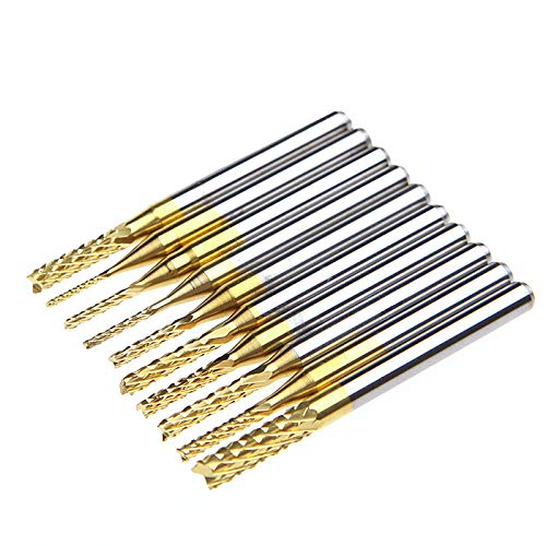 De Brocas 10Pcs 0.8-3.17mm PCB Twist Drill Bit Set Grabado Cutter Rotary CNC End Mill para broca de metal