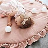 Alfombra de juegos para niños, Estera redonda del bebé del cordón para el juego que se arrastrándose durmiendo, Suave Grueso linda flor para la decoración casera, 105cm(A)
