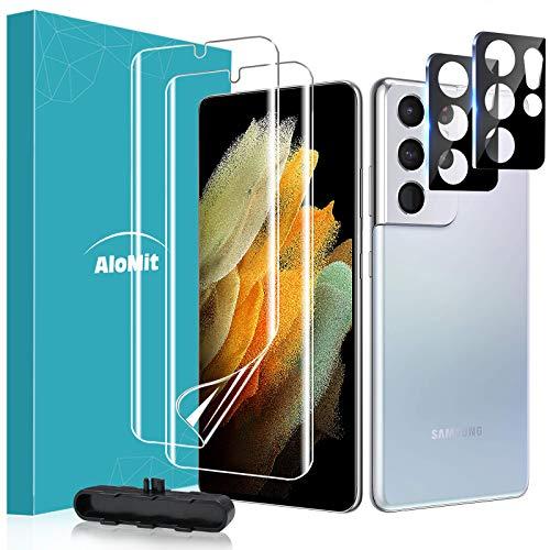 [2 Pezzi] AloMit Pellicola Galaxy S21 Ultra + [2 Pezzi] Pellicola Fotocamera, Pellicola TPU Morbido Non di Vetro Temperato [Alta definizione] Semplice da Installare per Samsung Galaxy S21 Ultra