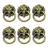 6pcs / set con tornillos Hardware Dormitorio Armario Tiradores de cajones antiguos Manija de gabinete Hotel Fácil instalación Decoración para el hogar Perilla de puerta-China, Bronce cepillado
