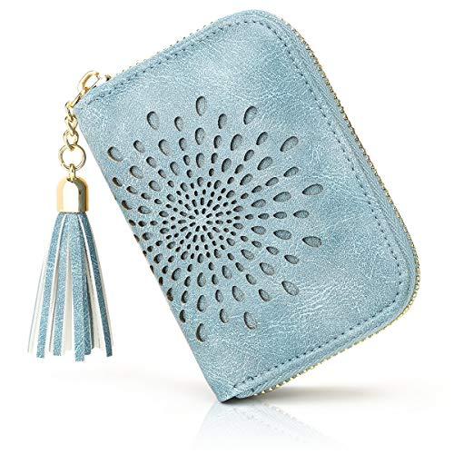 APHISON Kreditkartenetui Damen RFID Schutz Kreditkartenmäppchen Visitenkartenetui für Frauen geldbörse klein PU Leder Reißverschlussetui 10 Fächer Geschenke für Frauen (1927-1BLUE)