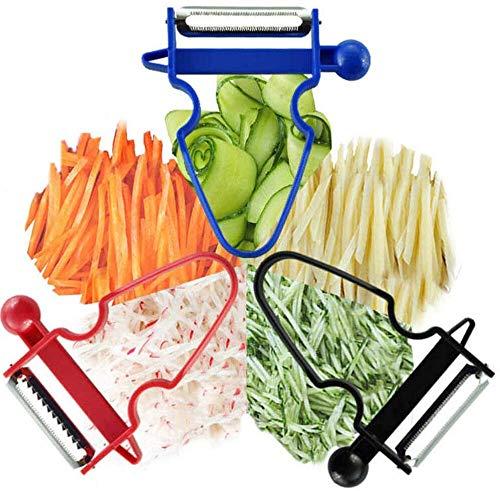 St@llion Magic Trio Peeler Fruit Vegetable Julienne Peeler Slicer for Quick Smooth Peeling Potato Apple Pineapple Carrot Multifunctional Tools for Kitchen (Pack of 3 Mixed Colour)