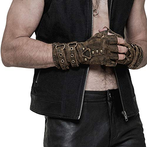 Rave Rave Steampunk Studded Fingerless Gloves for Men Vintage Rock Mittens