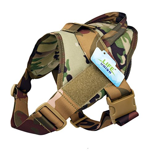 Lifeunion Tactical Dog Vest Nylon Patrol Waterproof K9 Service Dog Vest Harness for Training Hiking Outdoor Sports (Camo, S)