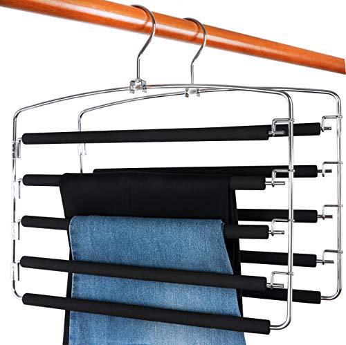 TOPIA HANGER Pants Hangers Slacks Hangers 2 Pack Swing Arm Slack Hanger Space Saving Non-Slip Foam Padded Closet Storage Organizer for Pants Jeans Trousers Skirts Scarf CT08B
