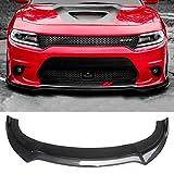 NINTE Front Lip for 2015-2020 Dodge Charger SRT, V3 Style Carbon Fiber PP Front Bumper Lip