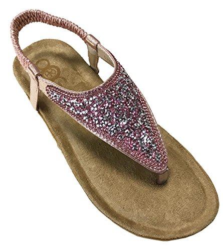 OOG Sommer Sandale Strassstein Damen Schuh Sandaletten Antirusch gepolsterte Sohle (39, Rosa)