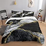 Black Marble Bedding Black Gold Duvet Cover Set Black...