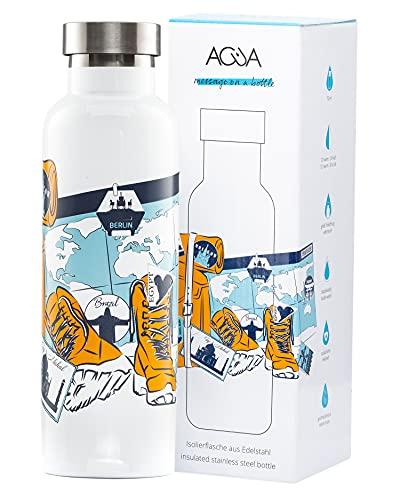 ACUA BOTTLES Borraccia in acciaio inox da 750 ml, unica bottiglia con design ispirati; con questa borraccia termica avrai sempre la tua bevanda preferita (TRAVELER)