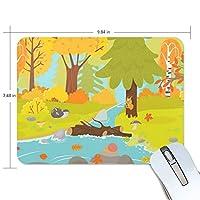 マウスパッド かわいい 秋の森 川 動物 楓 赤い 高級 ノート パソコン マウス パッド 柔らかい ゲーミング よく 滑る 便利 静音 携帯 手首 楽
