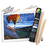 Croma Premium Paint by Numbers Beginners Adult Kit (Colorful Skies), All in One Set with DIY 16x20 Inch Frame Included and 4 Wooden Brushes, Canvas Rolled in Elegant Giftable Tube for Home Wall Decor