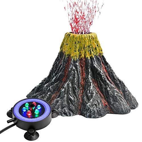 NICREW Volcan Aquarium Kit de Décoration, Lampe Bulle avec LED Coloré Décoration pour Aquarium