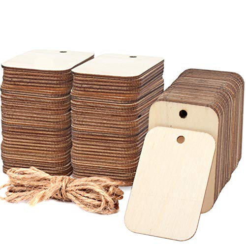 """100 Pcs Unfinished Wood Pieces Rectangle-Shaped, Light Wooden Cutout Natural Rustic with Hole, and 2M Hemp Rope, for Craft Projects, Hanging Decorations, Painting, Staining (2"""" x 1.3"""")"""