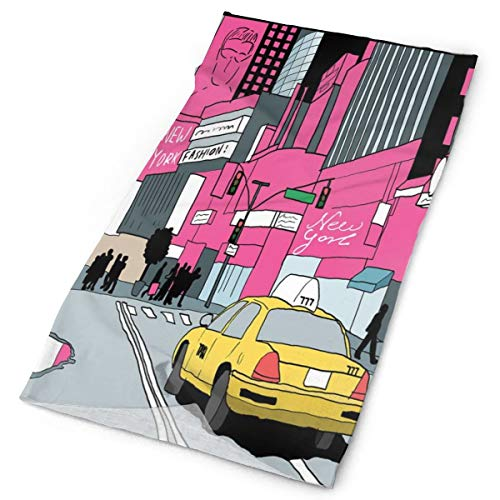 GUUi Headwear Headband Head Scarf Wrap Sweatband,View of Manhattan and A Taxi Cab at Times Square,Sport Headscarves for Men Women