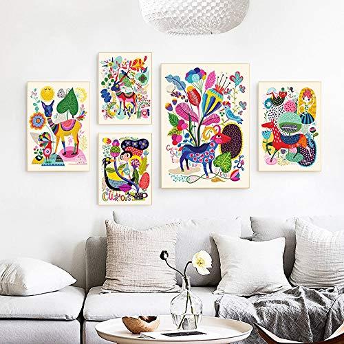 Wfmhra Nórdico Lindo Colorido Mundo Animal habitación de los niños Lienzo impresión Abstracta habitación de bebé Cartel de Pared decoración del hogar 50x70 cm sin Marco