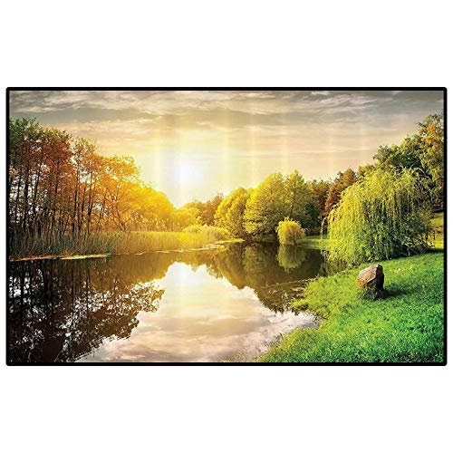 Lake House Decor Collection non slip rug pad farmhouse kitchen rugs Sunset Over Calm River Grass Willow Trees Grass Rocks Reflection Light Clouds for Bedroom, Living Room, and Kitchen Green Blue White