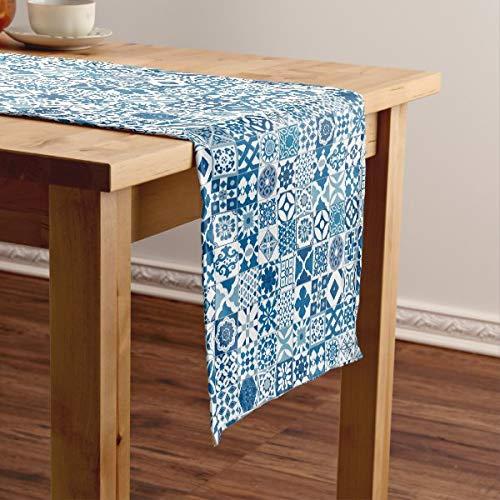 CICIDI Camino de mesa corto de azulejos marroquíes, azul y blanco, mantel para mesa, para fiestas, cenas, vacaciones, cocina, 13 x 70 pulgadas