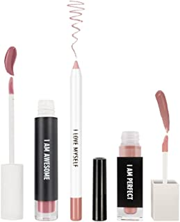 RealHer Lip Kit - Matte Liquid Lipstick, Lip Plumping Gloss, and Fine Tip Defining Lip Liner in 3 Bold Tones for All Skin Types (Deep Nude)