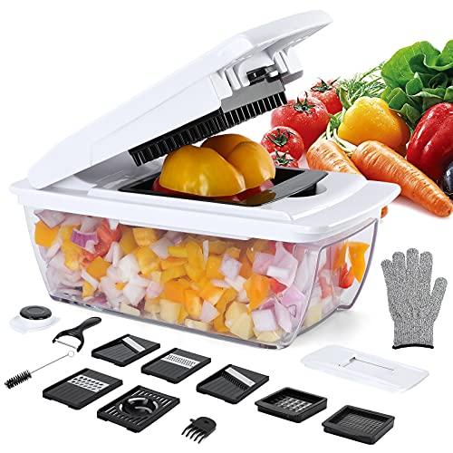 Gemüseschneider 14-in-1 Gemüsehobel verstellbar Edelstahl-Klinge Gemüsereibe, Karottenschäler, Kartoffelschneider, Zwiebelschneider, Küchenhobel mit Handschuh für Gurke Tomate Zucchini