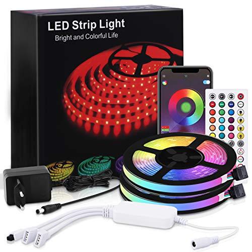 Tiras de LED RGB MMcRRx 10m, Luces LED RGB 5050, Luces LED con control remoto APP, Controlador Bluetooth Sincronizar mulitiColor regulable, Tira de LED para dormitorio, fiesta, cocina.