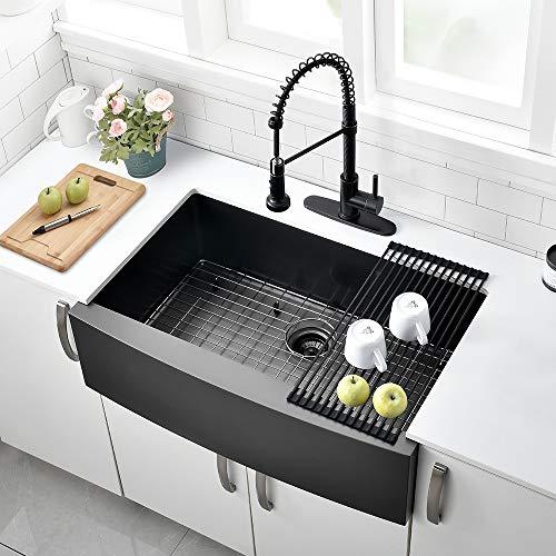 33 Black Farmhouse Sink - VOKIM 33 Inch Black Stainless Stee Farmhouse Sink Apron Curved Front kitchen Sink 16 Gauge Single Bowl Gunmetal Matte Black Stainless Steel Kitchen Sink …