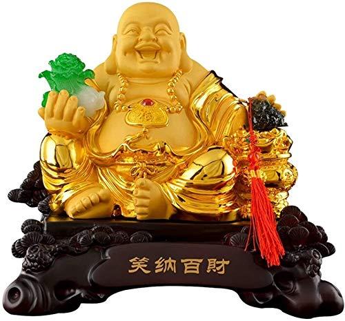 FLYAND Accesorios Decorativos Adornos Fengshui Resina Sentado Riendo Buda con repollo y Dinero Frog Proteger Casa Paz Paz Decoración Lucky Decoración Feng Shui Decoración