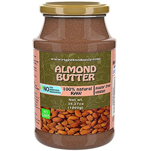 Nussbutter Mandel 1kg | GVO-frei | Zuckerfrei | Eine Zutat | Veganer Aufstrich | 100% Superfood Pastete (Mandel 1 kg)