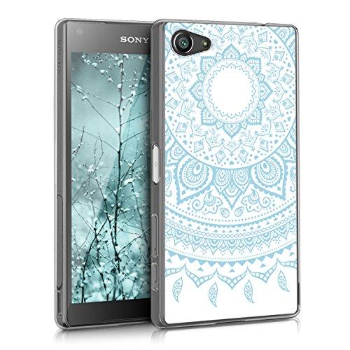 kwmobile Funda Compatible con Sony Xperia Z5 Compact - Carcasa de TPU y Sol hindú en Azul Claro/Blanco