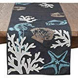 Fennco Styles Coastal Collection Sea Life Embroidered Table Runner 16 x 70 Inch - Navy Blue Table Cover for Everyday Use, Family Gathering, Banquets and Special Occasion
