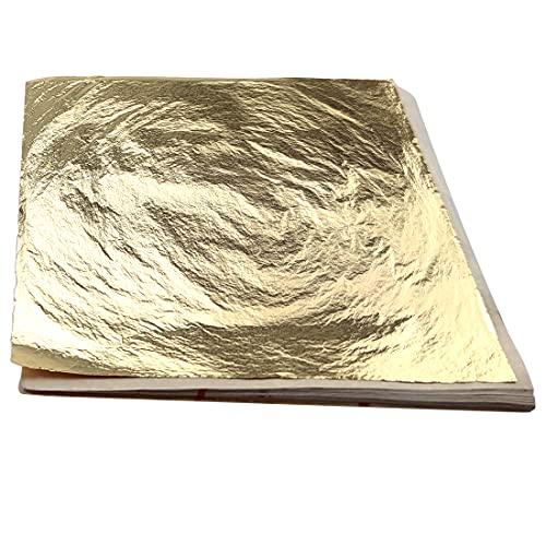 100 hojas de imitación doradas para manualidades, pintura de uñas, 13 x 13 cm, hojas de papel de aluminio metálico con purpurina para resina arte DIY proyecto