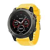 Compatibile con Garmin Fenix 5 x orologio da polso di ricambio, silicone sport orologio da polso (Yello)