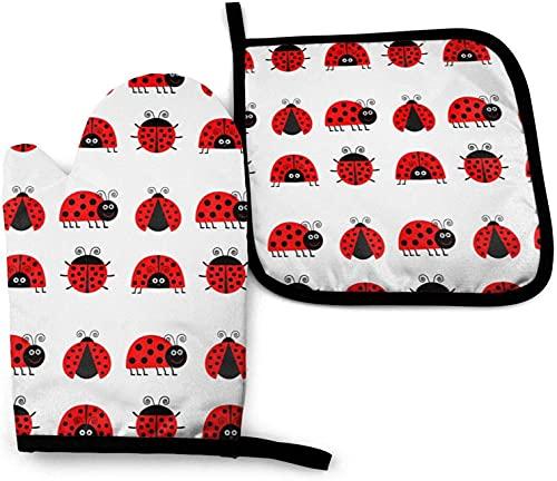 Juego de Manoplas y Porta ollas para Horno Ladybug, Guantes Impermeables Antideslizantes al Calor para cocinar, cocinar, Hornear, Barbacoa, Asar a la Parrilla
