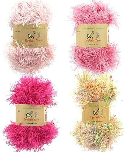 BambooMN JubileeYarn 50g Eyelash Ruffle Fur Yarn 4 Skeins Shades of Pink product image
