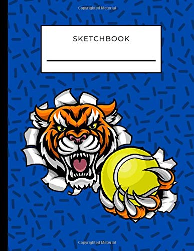 Sketchbook: Angry Cartoon Tiger with Tennis Ball on Blue Cover / Unruled Unlined Paper / 8.5x11 Inches, Notebook Size / Design Book / Great Gift for Creatives, Artists and People Who Love To Draw