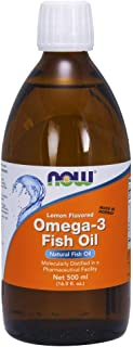 NOW Supplements, Omega-3 Fish Oil Liquid, Lemon, 16.9-Ounce