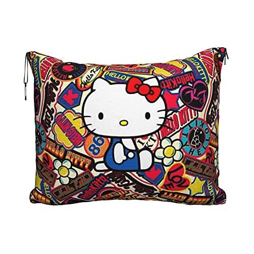 Hello Kitty - Manta de viaje portátil 2 en 1, manta de avión súper suave y acogedora