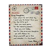 娘のためのお母さん 豪華なスローブランケット レタープリントエンベロープ フランネルの毛布 パーソナライズされたキルト クリスマスの誕生日新年の贈り物 (6サイズ),B,100*150cm
