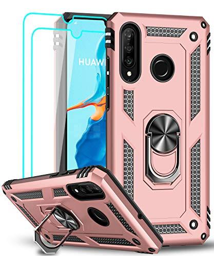 LeYi für Huawei P30 Lite Hülle P30 Lite New Edition Handyhülle mit Panzerglas Schutzfolie(2 Stück),360 Grad Ring Halter Handy Hüllen TPU Cover Bumper Hülle Schutzhülle für Huawei P30 Lite 2020 Rosegold