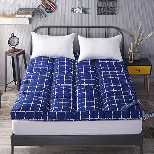 Thicken blue Mattress Topper Pad Three-dimensional Feather Velvet Fabric Non-slip Foldable Tatami Floor Mat Japanese Keep Warm Futon Mat for Double SingleD-90x200cm(35x79inch)