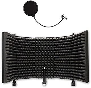 AxcessAbles SF-101 Recording Studio Microphone Isolation Shield With Vocal Windpop, High Density Absorbing Foam Front with Desktop Stand Knobs