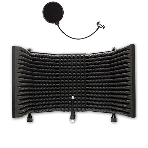 AxcessAbles SF-101 Desktop Recording Studio Microphone Isolation Shield with Pop Filter