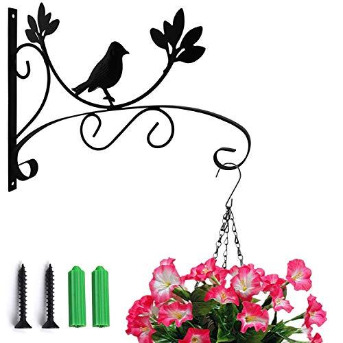 MATT SAGA Soporte para Plantas Colgantes de Pared Gancho con Tornillo para Comedero de Pájaros, Cestas de Macetas, Campanas de Viento, Linterna, Decoración de Jardín (Pájaro)