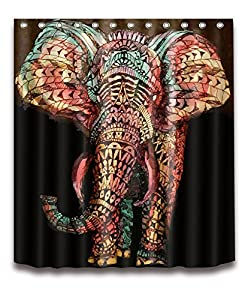 LB African Theme Indian Elephant Shower Curtains for Bathroom 3D Printing Tribal Animal Decorations Boohemian Shower Curtain 72x72 Inch Waterproof Fabric Bathroom Decor with Hooks
