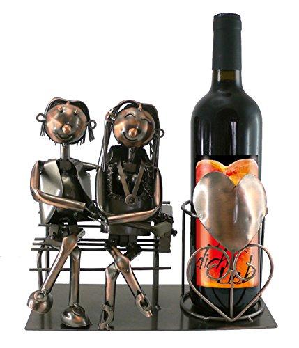 Flaschenhalter LIebespaar mit Rotwein Hab dich lieb