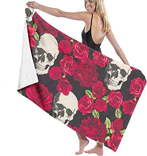 Toalla de baño de microfibra suave con diseño de calavera de rosas, toalla de playa para hombres y mujeres, 80 x 130 cm