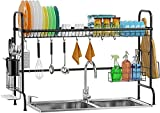 Over Sink Dish Drying Rack, Stainless Steel Dish Rack Over Sink Shelf, Sturdy Rustproof Above Sink Dish Drainer for Kitchen Counter, Black