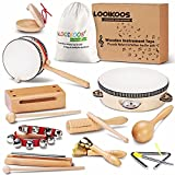 LOOIKOOS Toddler Musical Instruments Natural Wooden Percussion Instruments Toy for Kids Preschool Educational, Musical Toys Set for Boys and Girls with Storage Bag
