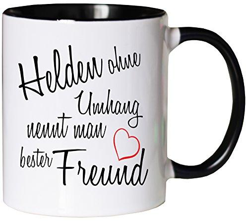 Mister Merchandise Kaffeebecher Tasse Helden ohne Umhang nennt Man Bester Freund Buddy Bro Buddies Freundschaft Helfer BFF Teetasse Becher Weiß-Schwarz