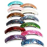 12PCS Retro Acrylic Hair Barrettes for Women LAXMTT Classic French Automatic Hair Clips Large Hair Clip for Medium and Thick Hair (Mixed Color)